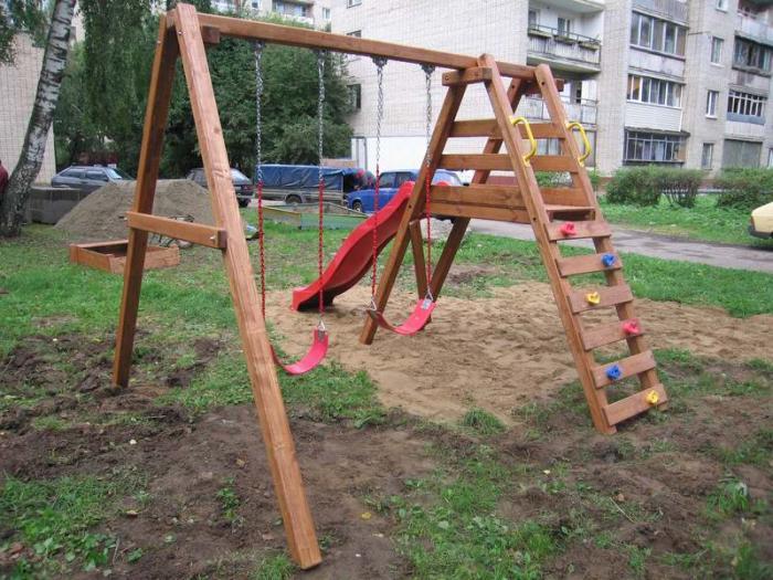 Детская площадка с горкой и качелями своими руками
